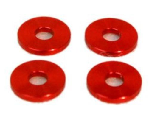 Alu-Abstandshalter 4mm rot für 5mm Schraube