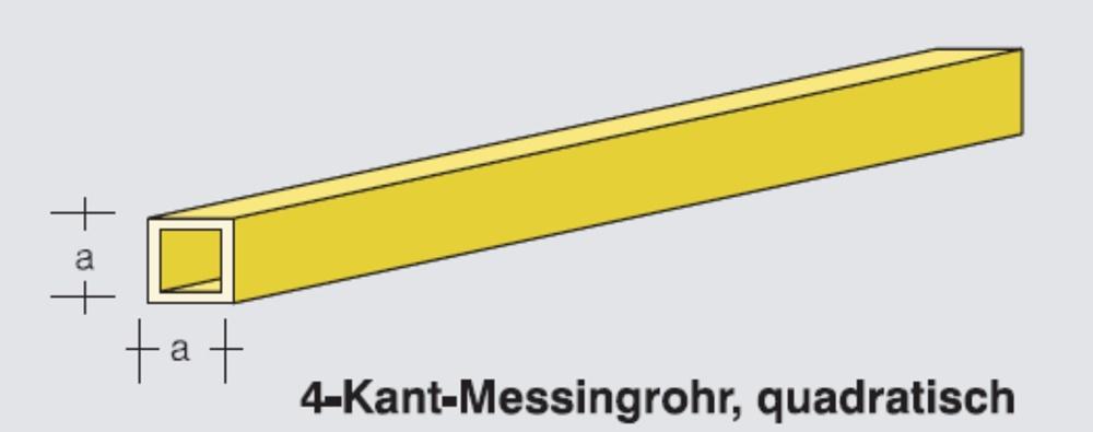 4-square brass tube, square 5x5mm