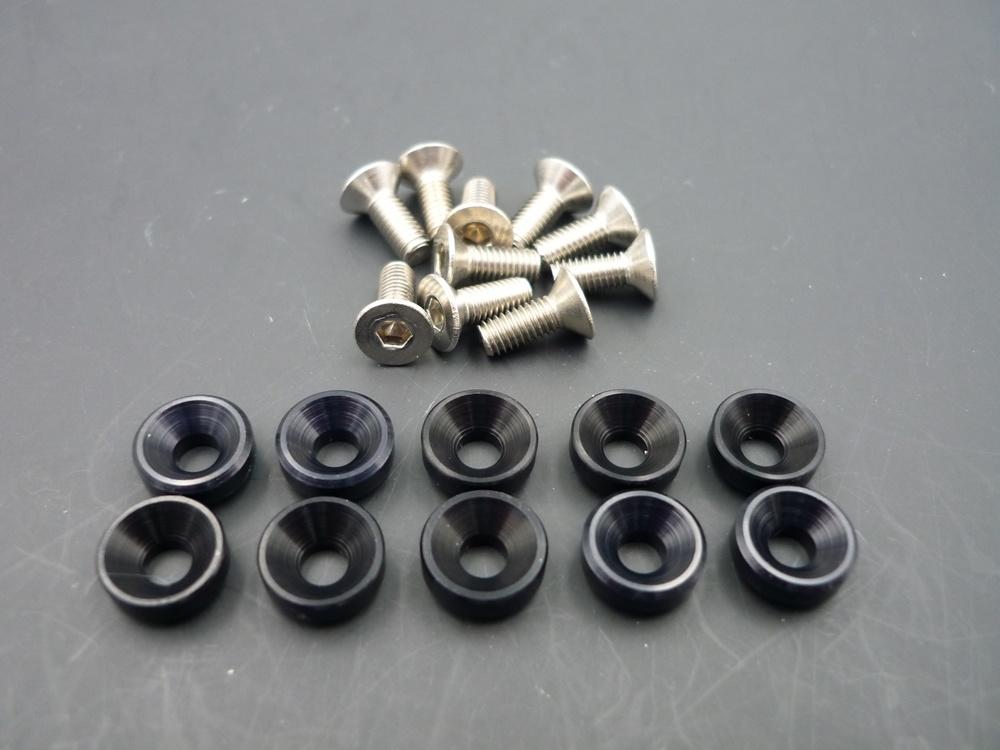 Alu-Unterlegscheiben für Servoschrauben M3 schwarz