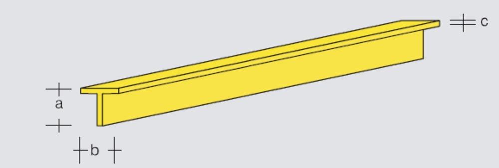 Brass T-Profile 2x2