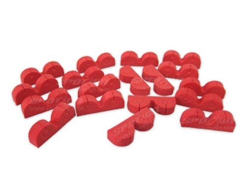 Cable holder red, self-adhesive